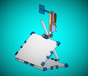 CABALLETE DE MESA Después de un tiempo dedicado a investigación y desarrollo de este elemento, hoy día 7-5-2016 doy a conocer en este medio, un nuevo diseño de caballete de mesa para dibujar o pintar, las medidas de las dos tablas que lo componen pueden variar de tamaño, según la necesidad que se tenga. Las demás piezas que lo componen van construidas en impresora 3D. y próximamente informare con más detalles de este caballete de mesa y también del caballete de campaña que se encuentra en curso.